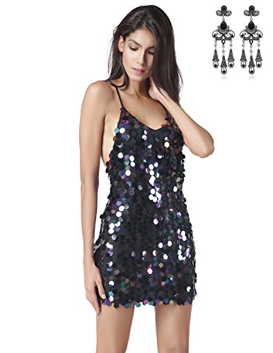 Modetrend Femmes Sexy Robe Dos Nu Paillette Robes de Cocktail Soirée Mariage Clubwear Sans Manche Club Camisole Mini Robe Bleu