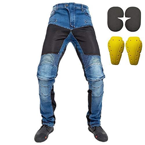 Uomo Jeans da motociclista, Donna con Inserti protettiv blu (XL- (Waist 36.5'))