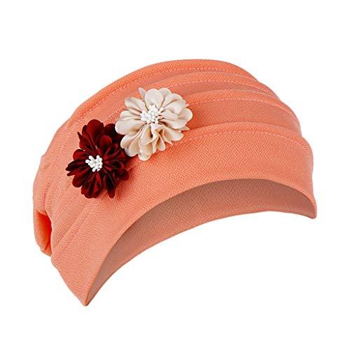 Dwevkeful Turbantes para Mujer Cancer, Turbante Gorra Pañuelo Decoración Floral SóLido AlgodóN Pañuelo Gorro Peruano para Chemo Oncológico Pèrdida de Pelo Cabello (F, Sandía)