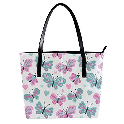 Women's Bag Shoulder Tote handbag with Cute Butterfly print Zipper Purse PU Leather Top-handle Zip Bags -