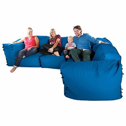 Sacchi di fagioli divano ad angolo modulari - 7pc deluxe angolo set-verde acqua