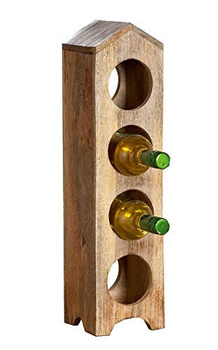 Gilde Holz Flaschenhalter Weinflaschenhalter Holzständer Hausform B 13,5 x H 55 cm