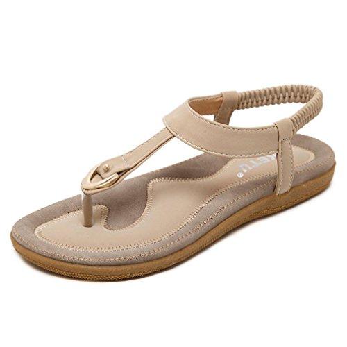 Sandalen Damen Btruely Römisch Sandalen Frauen Böhmen Sandalen Sommer Flip Flops Schuhe Mode Strandschuhe Elegant Leder Sandalen Übergröße Schuhe (42, Beige)