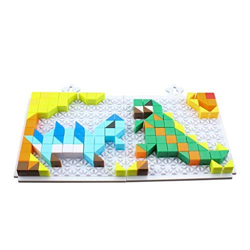 FBGood Mehrfarbiges Kinder Puzzle Spielzeug, 222 Blöcke Kreativ Kunststoff Dinosaurier Puzzle Pädagogisches Spielzeug Lernspielzeug Bausteine Jigsaw Geschenk für Mädchen Jungen