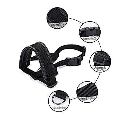 AIM Cloudbed Black Dog Muzzle Soft Nylon Dog Muzzles Anti Barking with Adjustable Loop and Soft Padding Protect for Walking and Training by AIM Cloudbed