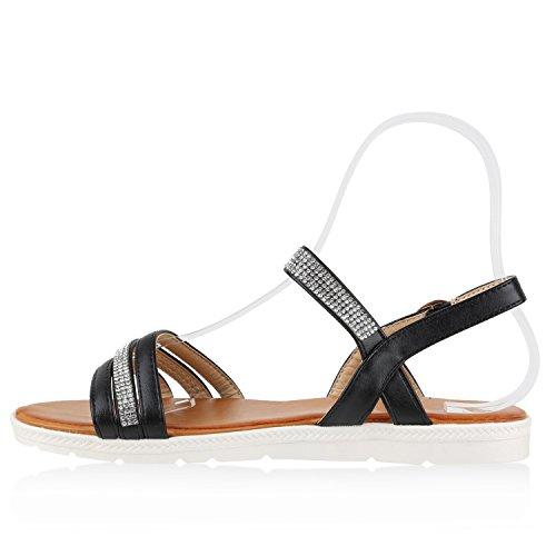 Damen Riemchensandalen Strass Profilsohle Sandalen Schuhe Schwarz g0T4RGoP8b
