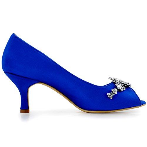 Elegantpark HP1541 Raso Diamante Gioielli Peep toe Tacco Alto Scarpe da sposa Ballo Partito da Sera Blu