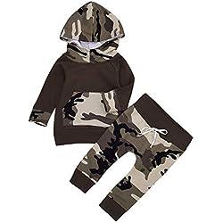 LANSKIRT Trajes para Recién Nacido Infantil bebé niños niñas Conjunto de Estampado de Camuflaje de Manga Larga Tops + Pantalones Invierno 2PC