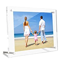 HIIMIEI A5 Picture Frame | Acrylic Photo Frames | Clear Desktop Display | Family Photo Frames | 14.8x21 cm Picture Frames with Standoff for Family Moment, Wedding Photograph, Birthday