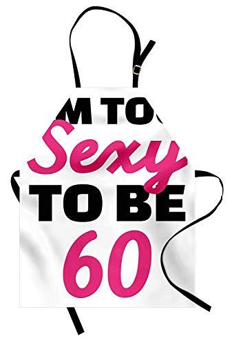 60. Geburtstag Schürze, Hot Party Theme Ich bin zu sexy, 60 Jahre alt handgeschriebenes Zitat, Unisex-Küche Latzschürze mit verstellbarem Hals zum Kochen Backen Gartenarbeit, Hot Pink und Schwarz