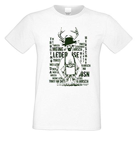 Herren-Trachten-Wiesn-Motiv-Fun-T-Shirt Meine Lederhose auch in Übergrößen 3XL 4XL 5XL Farbe: weiss Weiß