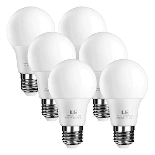 LE E27 LED Birne, 8.5W 850 Lumen LED Lampe ersetzt 60W Glühbirne, 2700 Kelvin Warmweiß, 200° Abstrahlwinkel Energiesparlampe (6er Pack)