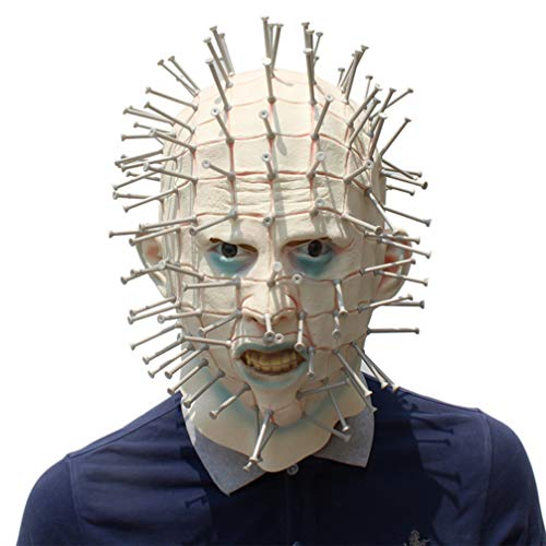 YuStar Gruselige Horror Hellraiser Pinhead Maskerade mit Kunststoff-Nägeln Horror Maske Halloween Cosplay Make up Party Kostüm