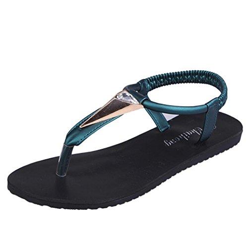 Amlaiworld Damen Flache Schuhe Diamanten Böhmen Freizeit Sandalen Peep Toe Outdoor Schuhe (Grün, 35) (Grün Leder Mitte)