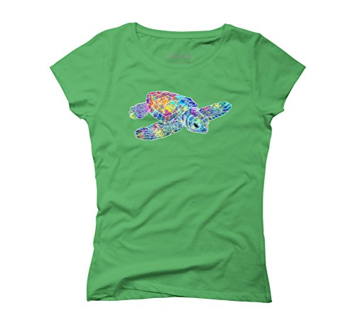 Colorful Watercolor Sea Turtle Women's Graphic T-Shirt - Design By Humans Green