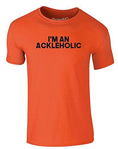 Brand88 - I'm An Ackleholic, Erwachsene Gedrucktes T-Shirt Orange/Schwarz