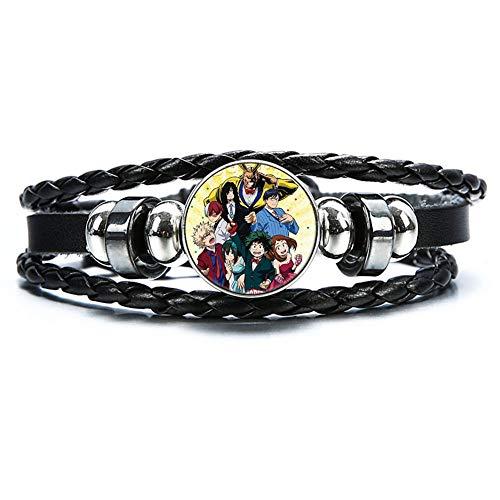 Hero Academia Armband Schwarzes Geflochtenes Leder Bracelet für Männer Junge, Glas Cabochon Ornament(H02) ()