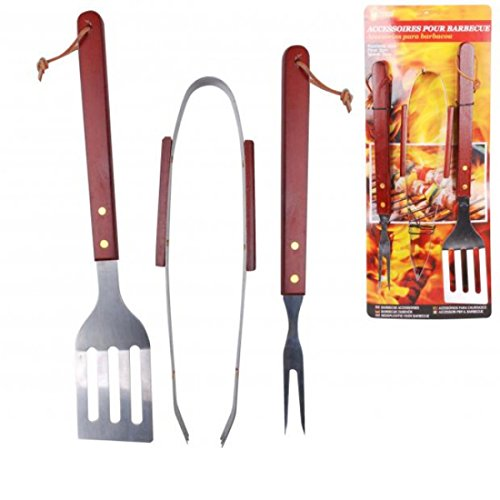 3 Pieces BBQ Tool Set With Wood Handles
