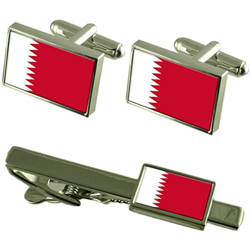 Clip de corbata gemelos bandera de Qatar Matching Box Set de regalo