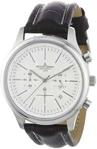 Jacques Lemans Herren-Armbanduhr XL Chronograph Leder 1-1706B