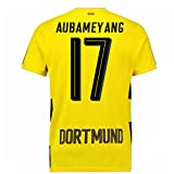 2017-18 Borussia Dortmund Home Short Sleeve Football Soccer T-Shirt Trikot (Pierre-Emerick Aubameyang 17)