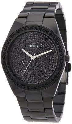 Guess W11173L1 - Reloj analógico de cuarzo para mujer con correa de acero inoxidable, color negro