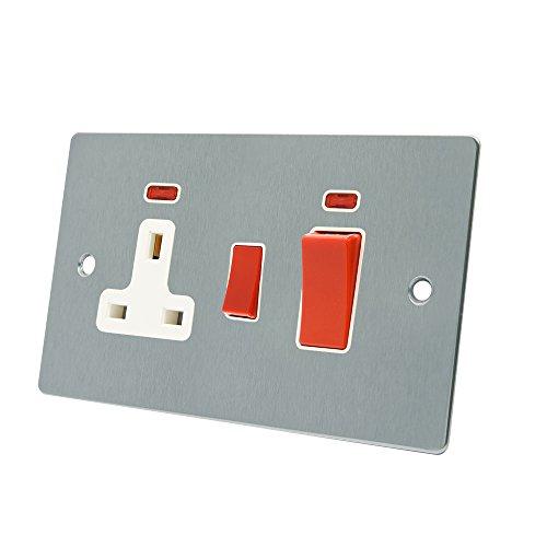 aet fsccc2nwh 45A (3pines, cromo satinado soporte de cocina unidad de control w/placa de neón blanco y cocina interruptor con indicadores de neón 13A interruptor enchufe