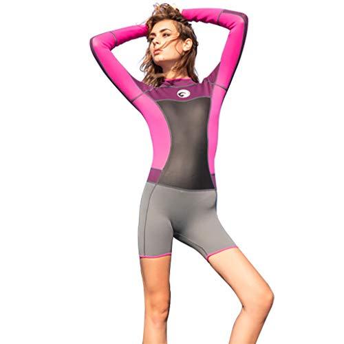 AmyGline Damen Shorty Neoprenanzug Stretch Tauchanzug Schnorcheln Badeanzug Surfen Overall Langarm Einteiler Swimsuit Wetsuit