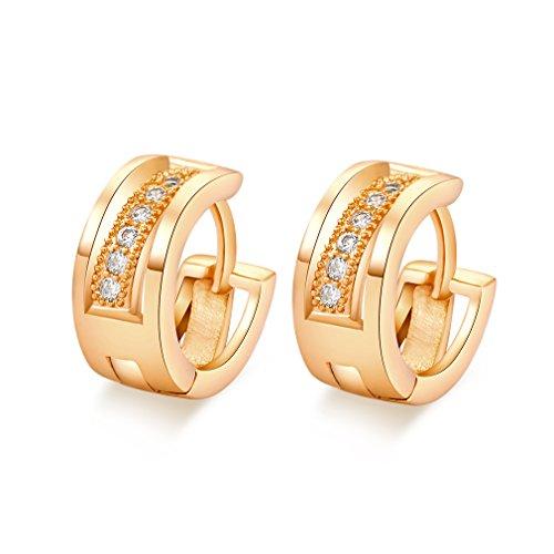 YAZILIND Dazzling 18K Gold Plated Inlay Zirkonia Kleine Creolen für Frauen