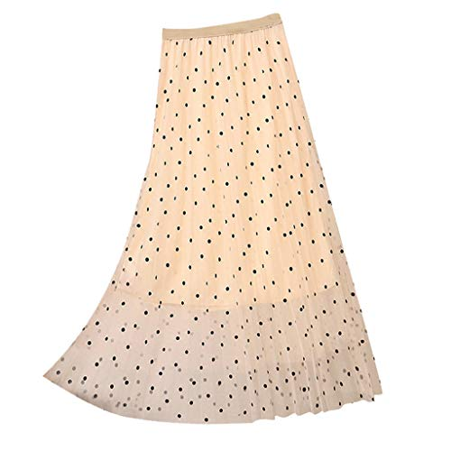 Cebbay Frauen Hohe Taille Faltenrock Kleid Polka Dot Niedlichen Tüllrock Mini kurzes Kleid(Beige,Freie ()