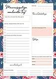 Tagesplaner Block - 50 Blatt, Format A5, Blumen, Notizblock für tägliche Aufgaben und mehr Achtsamkeit, To Do's, Notizen, Verabredungen, abtrennbare Einkaufsliste uvm.