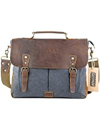 Gootium Vintage Umhängetasche Canvas Leder Messengertasche Schultertasche Laptoptasche Notebooktasche