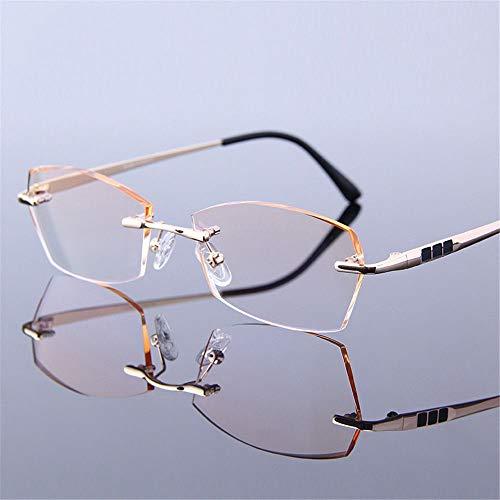 KOMNY Augenpflege Geschäft Gold randlose Brille Rahmen Diamant Trimmen männlichen Lesebrille HD Alten Spiegel Plus Film Anti-Ermüdung Weitsichtigkeit, A + 350