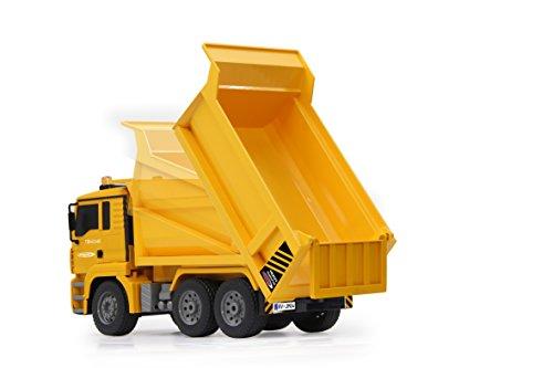 RC Auto kaufen Baufahrzeug Bild 3: Jamara 405002 - Muldenkipper MAN 1:20 2,4G - Kippmulde hoch / runter, realistischer Motorsound, Hupe, Rückfahrwarnsound, 4 Radantrieb, gelbe LED Signallichter, programmierbare Funktionen*