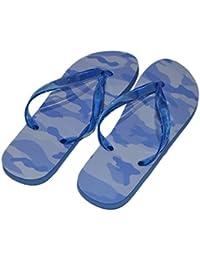 7c11f387f87e3 Blue Wave - Camo Design Ladies Flip Flops (White Sole   Clear Straps Ladies  UK