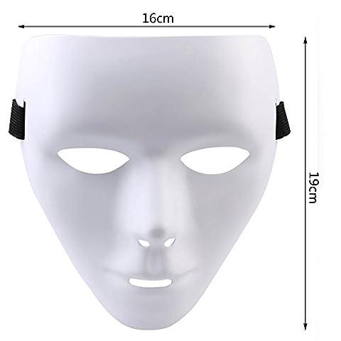 Costumes Noir Halloween Pour Les Costumes Guys - Full Face Halloween Masque Blanc/Halloween hip-hop Blanc