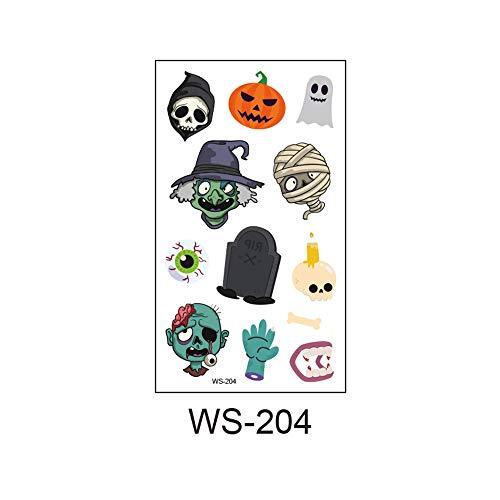adgkitb 2019 Neue Halloween, Leuchtend, Kinder Tattoo Aufkleber, Umweltschutz, wasserdicht, Schweiß, lustige Cartoon Einweg Aufkleber 36 10,5x6cm