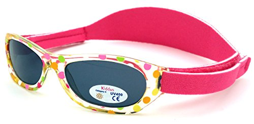 Sunglasses baby GIRL | age 0 months to 2 years | SOFT ADJUSTABLE BAND | very comfortable & secure | 100% UV protection | ideal gift for newborn | Kiddus babies