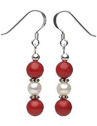 Ohrringe Ohrhänger aus Koralle & Süßwasserperlen & 925 Silber, rot-weiß, Ohrschmuck für Damen