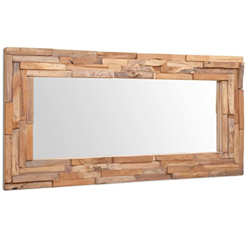 vidaXL 244564 Teak Dekorativer Spiegel 120x60cm Holzspiegel Wandspiegel Flurspiegel, One Size