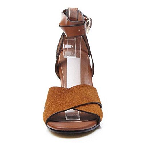 COOLCEPT Damen Mode Knochelriemchen Sandalen Open Toe Blockabsatz Schuhe Braun