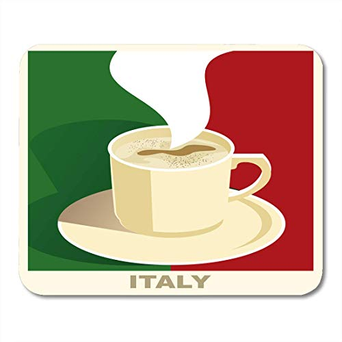 AOHOT Mauspads Brown Drink Coffee Flag Italy Vintage National Cafe Restaurant Bar Green Italian Mouse pad 9.5