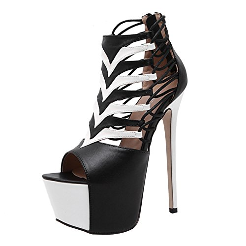 Oasap Women's Peep Toe Lace up Color Block Stiletto Heels Sandals Black&white