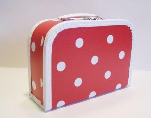 Koffer Pappe, rot + große weiße Punkte, groß, 25cm, Pappkoffer