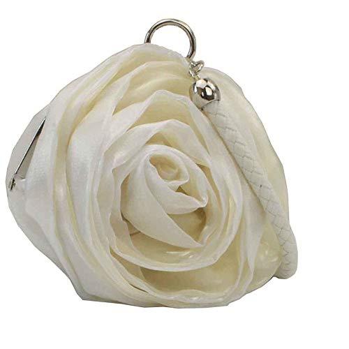 JSXL handtasche Damentaschen Seide Abendtasche Blume Schwarz Grau/Rosa / Elfenbeinhandtasche Handtaschen Tasche Clutches Koffer Umhängetasche -