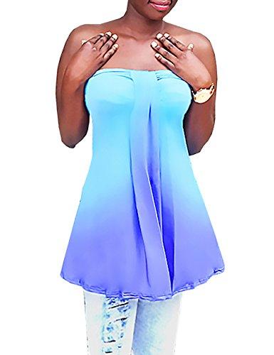 Ninimour Damen Gradient Trägerlose T-shirt Neckholder Ärmellos Top Bluse XL (Seide Perlen Unterhemd)