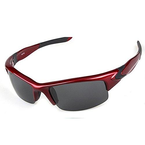 Ppy778 Polarisierte Sport-Sonnenbrille mit UV400-Schutz und unzerbrechlichem TR90-Rahmen für Männer, Frauen, Sport im Freien, Fischen, Ski Fahren, Golf, Radfahren (Color : RED)