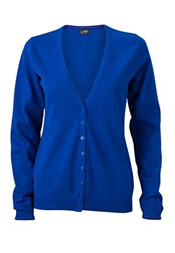 James & Nicholson Damen V-Neck Cardigan Strickjacke, Blau (Royal), 34 (Herstellergröße: S) (Royal V-neck)