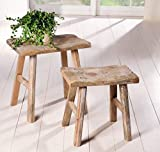 Maison en France Hocker Schemel- klein - 1 Stück Sitzhocker 30 x 18 x 22 cm Landhausstil massiv Holz Fussbank Tritthocker Shabby, Hier: nur Kleiner Hocker