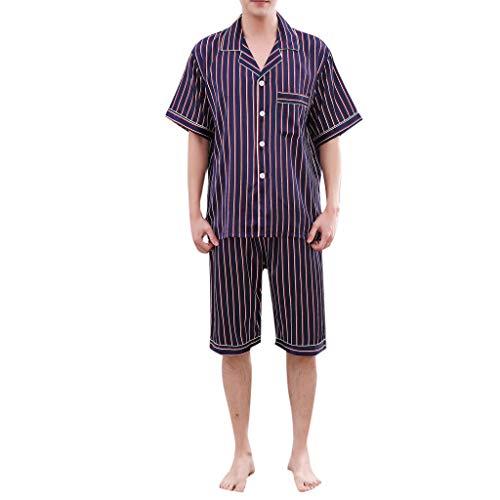 Amphia - Frauen-Pyjamas - Gestreifte/Bedruckte Kurze Ärmel/Home Pyjamas - Herren Casual Spring Stripe Printing Kurzarm-bequemer Pyjama-Set für Zuhause